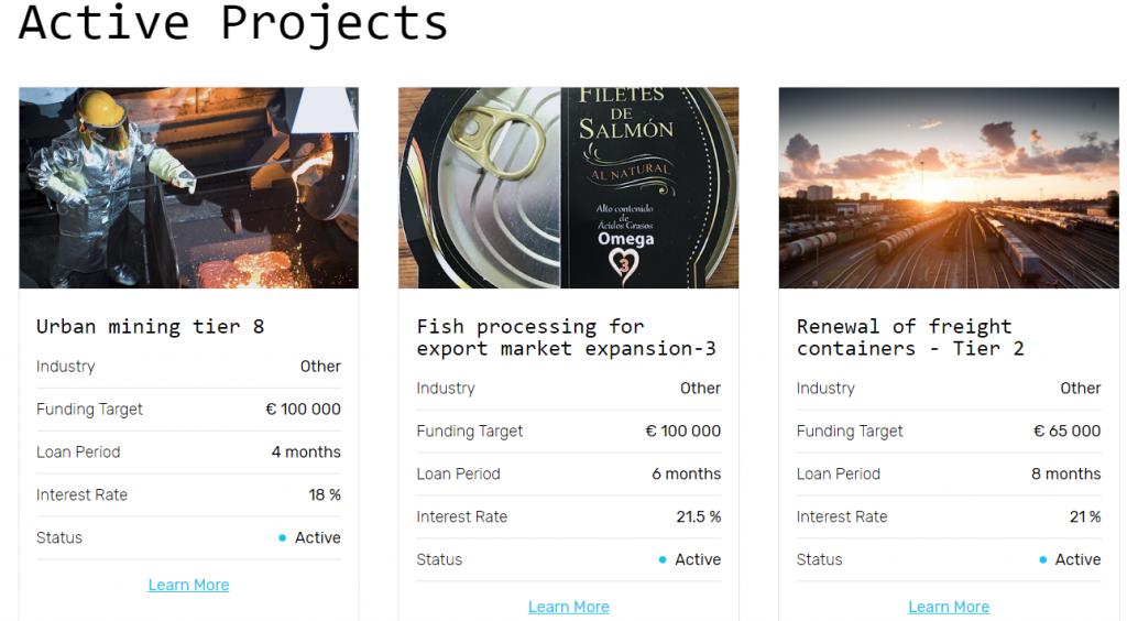 Envestio tipos de proyectos